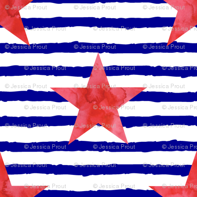 watercolor star on blue stripes
