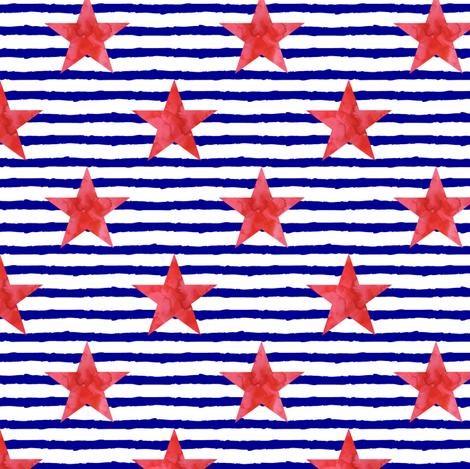 watercolor star on blue stripes fabric by littlearrowdesign on Spoonflower - custom fabric