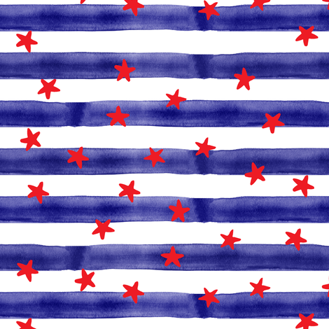 stars and stripes (red on blue) fabric by littlearrowdesign on Spoonflower - custom fabric