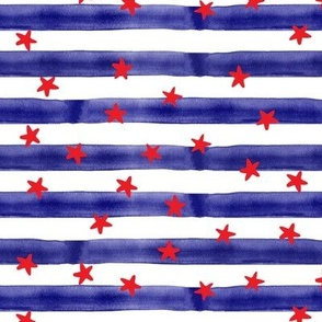stars and stripes (red on blue)