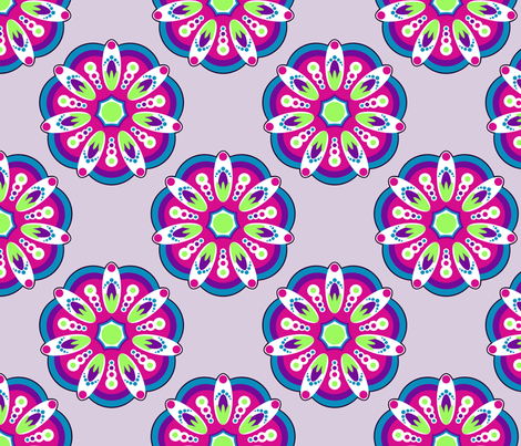 Colorful_Mandala_on_purple fabric by modernfox on Spoonflower - custom fabric