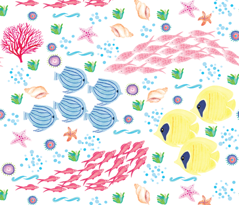 Colourful Ocean fabric by flutterhue on Spoonflower - custom fabric