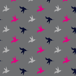 Hummingbirds- Fuchsia, Navy and Grey - multi direction