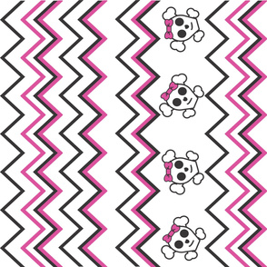Girly Skull & Crossbone with Pink Zig Zags