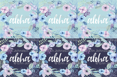 Aloha Lovey floral wreath 6UP Mint and Navy Blue
