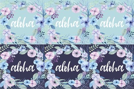 Aloha Lovey floral wreath 6UP Mint and Navy Blue fabric by kookinutsfabricco on Spoonflower - custom fabric