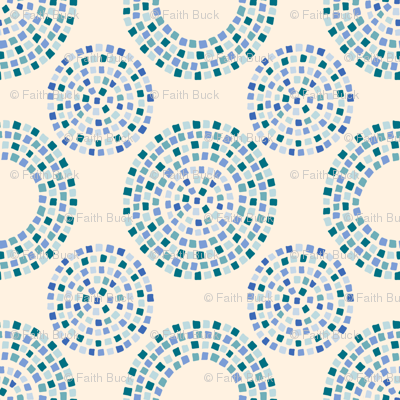 Dotty Mosaic (on sand, blue variation)