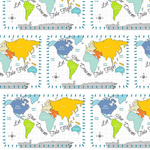 World Map 10- Dreams Seafoam turquoise Border
