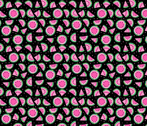 watermelons black fabric by laura_may_designs on Spoonflower - custom fabric