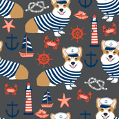 corgi nautical fabric sailor sailing fabric summer corgi design