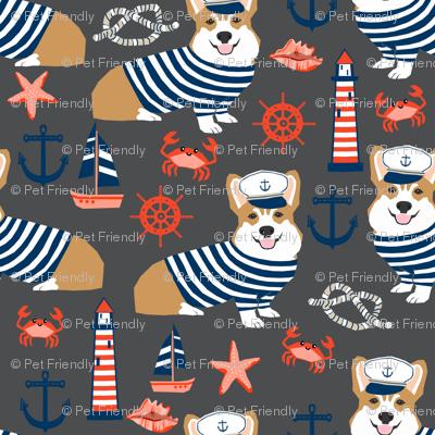 corgi nautical fabric sailor sailing fabric summer corgi design