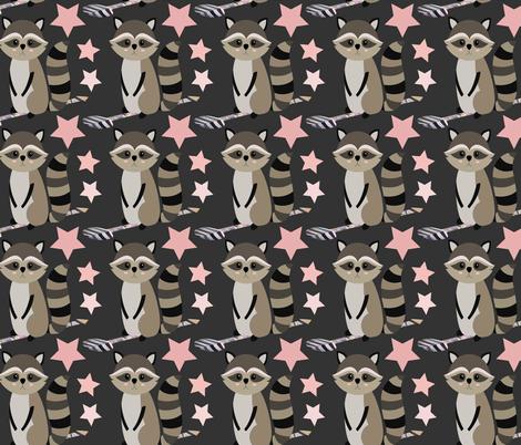 Star racoon on dark grey fabric by sara_gerrard on Spoonflower - custom fabric