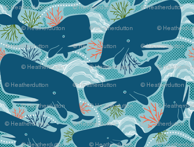 Aquatic Life - Nautical Ocean Whales Blue