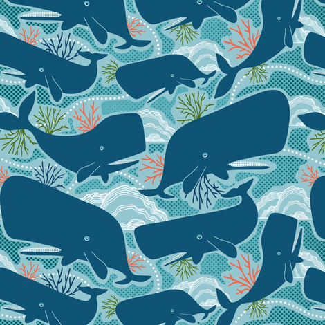 Aquatic Life - Nautical Ocean Whales Blue fabric by heatherdutton on Spoonflower - custom fabric
