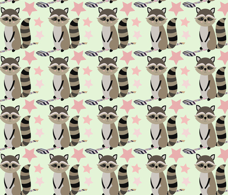 Star racoon on mint fabric by sara_gerrard on Spoonflower - custom fabric
