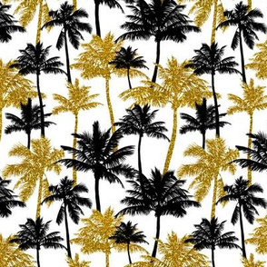 gold glitter palm trees - white, mini