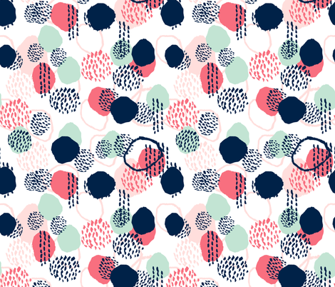 abstract painted fabric nursery fabric coral and mint fabric fabric by charlottewinter on Spoonflower - custom fabric