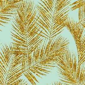gold glitter palm leaves - mint, mini