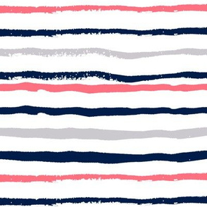 coral and navy fabric stripes fabric hand painted fabric