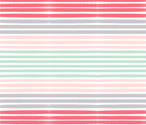 painted stripes fabric coral pink navy mint fabric by charlottewinter on Spoonflower - custom fabric