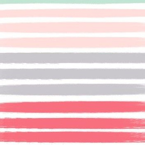 painted stripes fabric coral pink navy mint