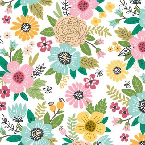 Summer Flowers Floral Pink Mint Yellow on White fabric by caja_design on Spoonflower - custom fabric