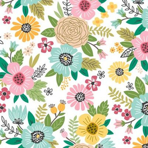 Summer Flowers Floral Pink Mint Yellow on White