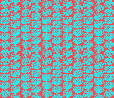 Tuquoise_Coral_red_background fabric by tropictune on Spoonflower - custom fabric