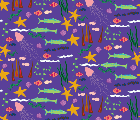 starfish and friends fabric by lalalamonique on Spoonflower - custom fabric