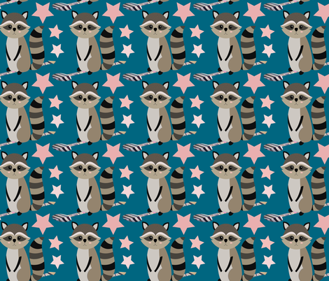 Star Racoon on indigo fabric by sara_gerrard on Spoonflower - custom fabric