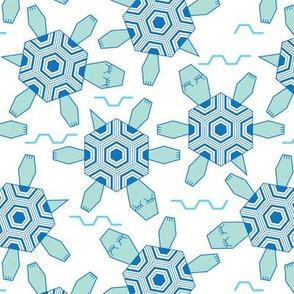 hexagonal sea turtles and waves