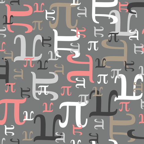 Pieces of Pi (Coral and Gray) fabric by robyriker on Spoonflower - custom fabric