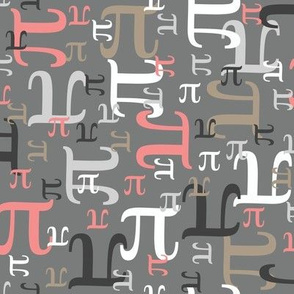 Pieces of Pi (Coral and Gray)
