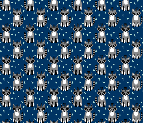 raccoon navy fabric navy blue nursery fabric fabric by charlottewinter on Spoonflower - custom fabric