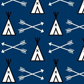 teepee fabric, navy blue nursery fabric tipi design
