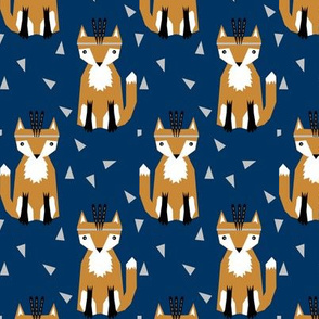 southwest fox fabric, navy blue nursery fabric