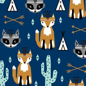 southwest baby fabric, navy blue fox fabric