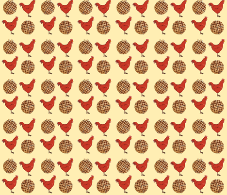 Chicken and Waffles fabric by heretherebemonsters on Spoonflower - custom fabric