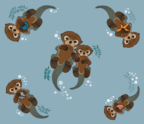 We Otter Be Friends fabric by hollyl on Spoonflower - custom fabric