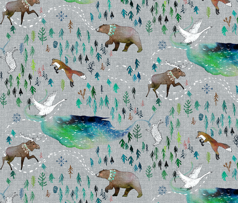 Song of the Yukon fabric by nouveau_bohemian on Spoonflower - custom fabric