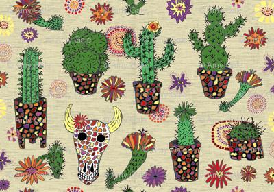 mosaic cactus plant pots garden floral, large scale, beige ecru neutral natural green ivory cream sand off-white tan