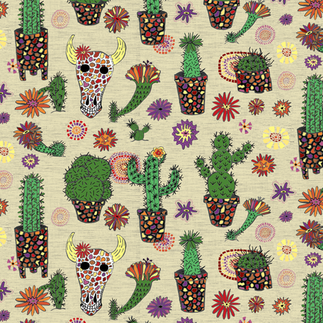 mosaic cactus plant pots garden floral, large scale, beige ecru neutral natural green ivory cream sand off-white tan fabric by amy_g on Spoonflower - custom fabric