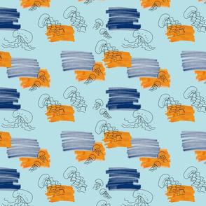 small jellyfish fabric