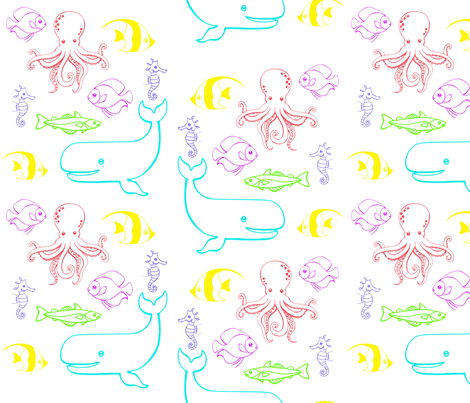 Aquatic Critters fabric by simplyprinted on Spoonflower - custom fabric