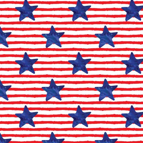 blue watercolor star on stripes fabric by littlearrowdesign on Spoonflower - custom fabric
