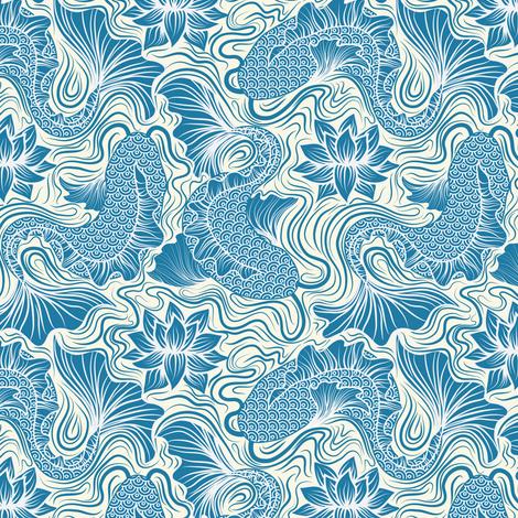 1 fish, 2 fish teal fabric by vo_aka_virginiao on Spoonflower - custom fabric