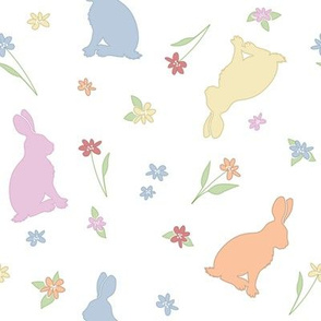 Rabbits and flowers_colours
