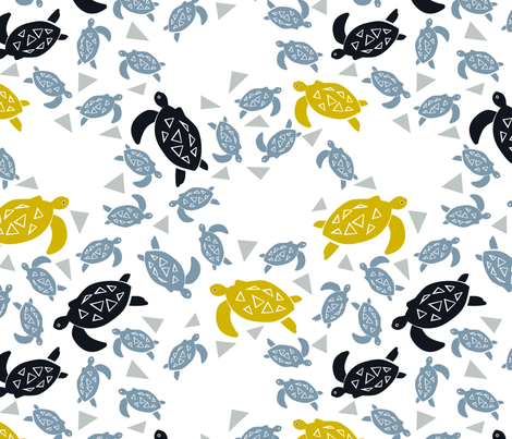Sea turtles fabric by overbye on Spoonflower - custom fabric