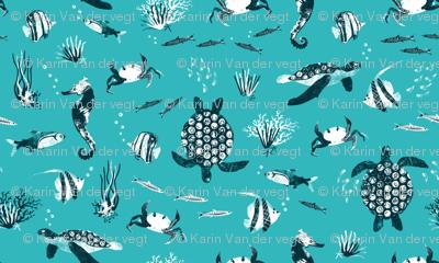 Ocean life - turquoise graphic