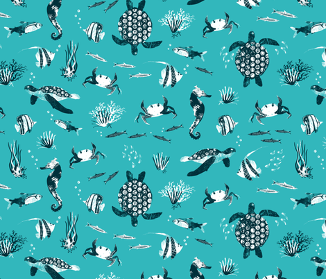 Ocean life - turquoise graphic  fabric by revista on Spoonflower - custom fabric